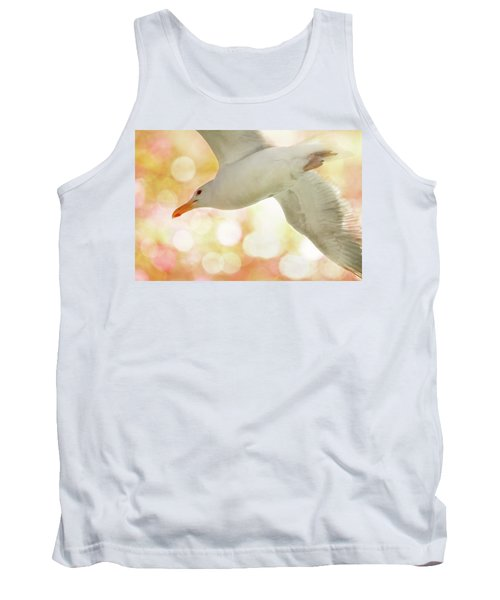Seagull On Pink And Yellow Sky Tank Top