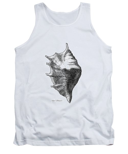 Tank Top featuring the drawing Seashell 1 - Nautical Beach Drawing by Karen Whitworth