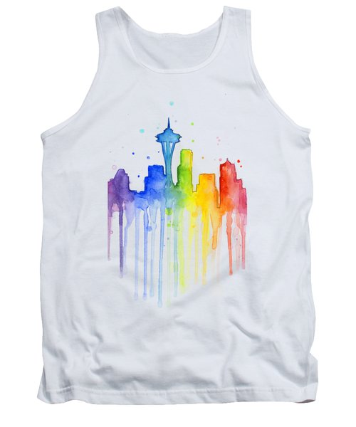 Seattle Rainbow Watercolor Tank Top