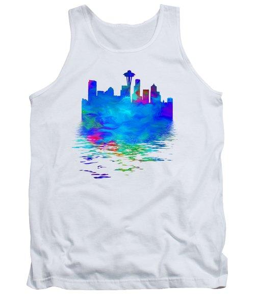 Seattle Skyline, Blue Tones On White Tank Top