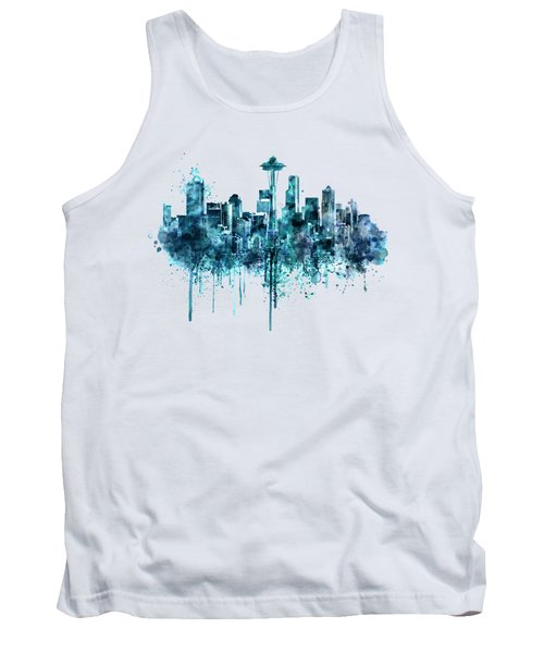 Seattle Skyline Monochrome Watercolor Tank Top by Marian Voicu
