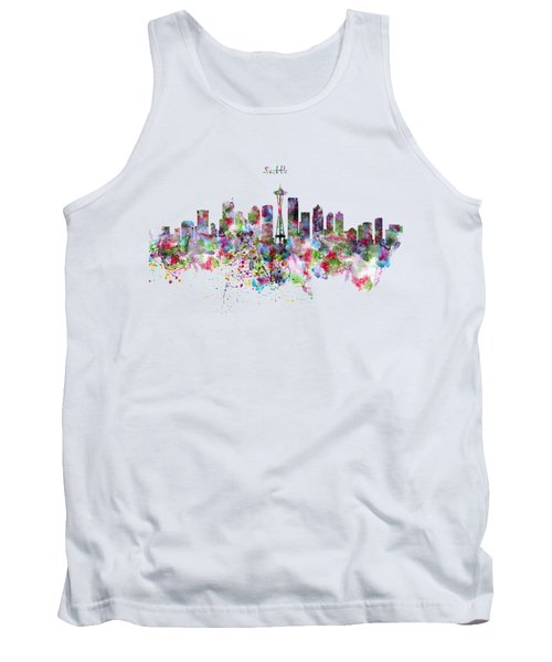 Seattle Skyline Silhouette Tank Top by Marian Voicu