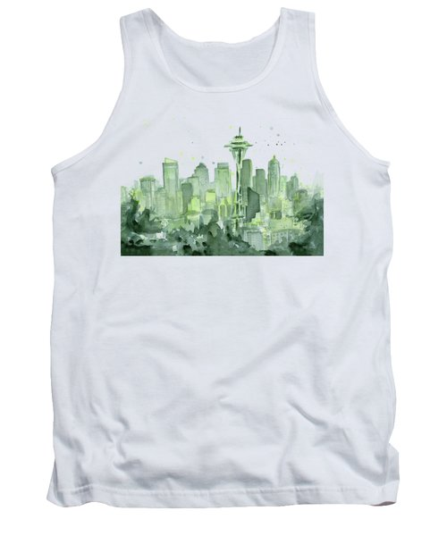 Seattle Watercolor Tank Top by Olga Shvartsur