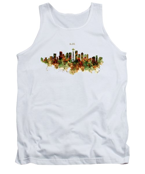 Tank Top featuring the mixed media Seattle Watercolor Skyline Poster by Marian Voicu