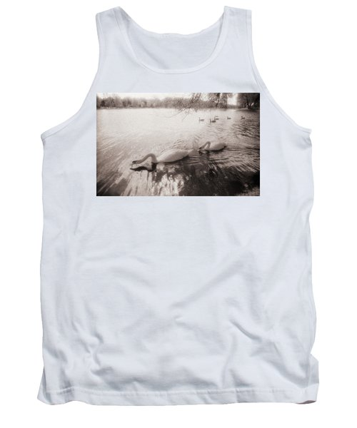 Sepia Swans Tank Top
