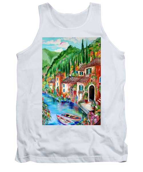 Tank Top featuring the painting Serenity By The Lake by Roberto Gagliardi