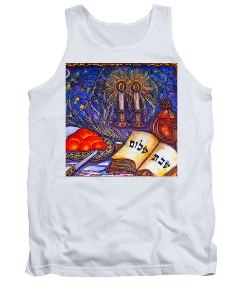 Tank Top featuring the painting Shabbat Shalom by Rae Chichilnitsky