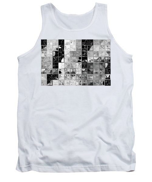 Shades Of Gray Tile Mosaic. Tile Art Painting Tank Top by Mark Lawrence