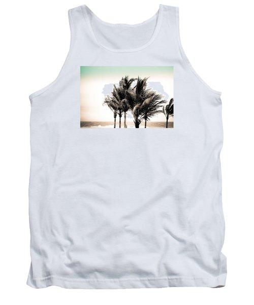 Shades Of Palms - Aqua Brown Tank Top
