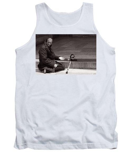 Tank Top featuring the photograph She Begs At The Cathedral by Lorraine Devon Wilke