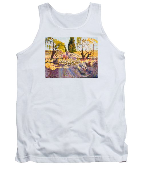 Sheep And Shepherd At Sunset Oil Painting Bertram Poole Tank Top by Thomas Bertram POOLE