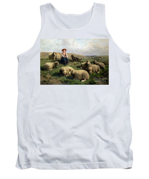 Shepherdess With Sheep In A Landscape Tank Top