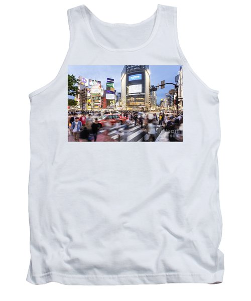 Shibuya Crossing At Night In Tokyo Tank Top