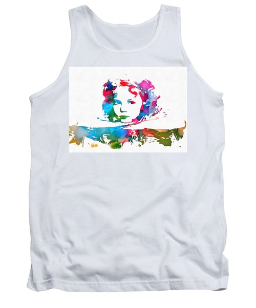 Shirley Temple Watercolor Paint Splatter Tank Top by Dan Sproul