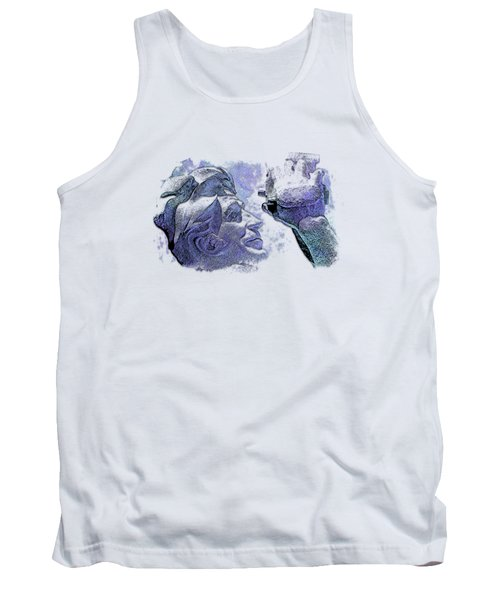 Shoot For The Sky Berry Blues 3 Dimensional Tank Top