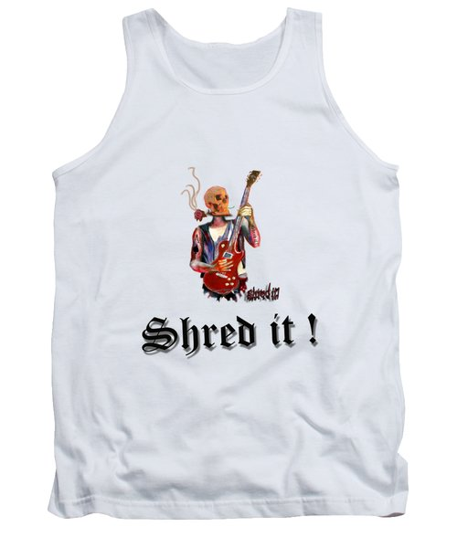 Shred It Skull Guitarist Version 2 Tank Top by Tom Conway