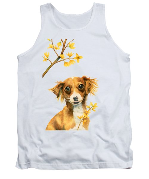 Signs Of Spring - Cute Dog With Forsythia Watercolor Painting Tank Top