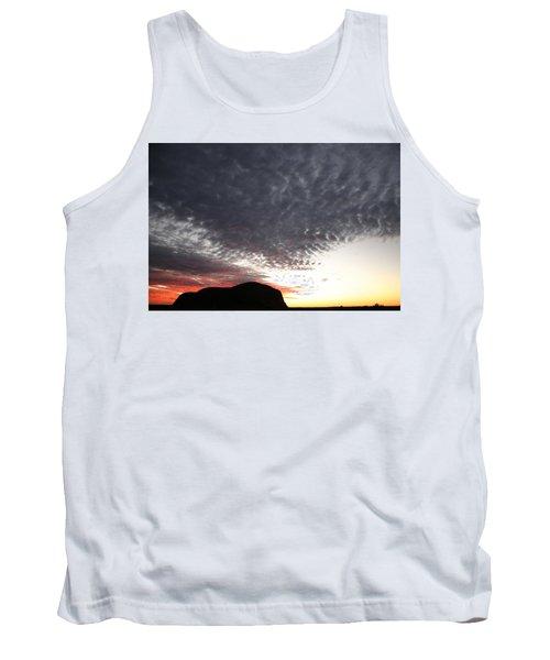 Silhouette Of Uluru At Sunset Tank Top