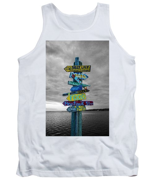 Silly Lily Fishing Station Sign Tank Top