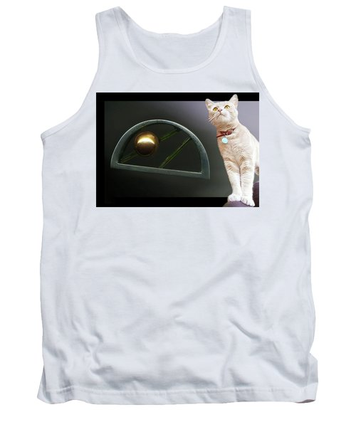 Cat, Silver And Gold  Brooch Tank Top