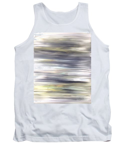 Silver Coast #26 Silver Teal Landscape Original Fine Art Acrylic On Canvas Tank Top