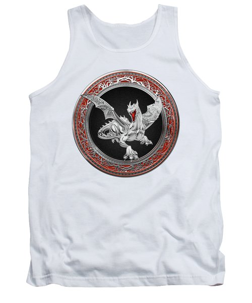 Silver Guardian Dragon Over White Leather Tank Top