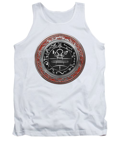 Silver Seal Of Solomon - Lesser Key Of Solomon On White Leather  Tank Top