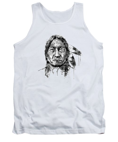 Sitting Bull Black And White Tank Top by Marian Voicu