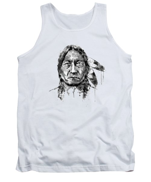 Sitting Bull Black And White Tank Top