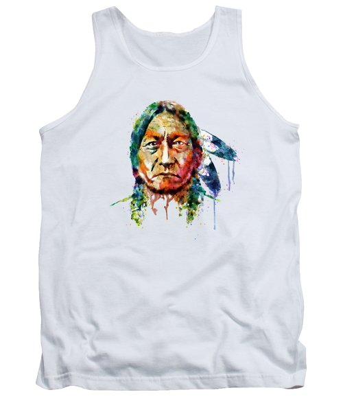 Sitting Bull Watercolor Painting Tank Top by Marian Voicu