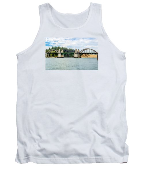 Tank Top featuring the tapestry - textile Siuslaw River Draw Bridge  by Dennis Bucklin