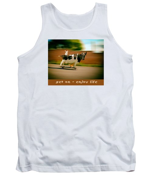 Skateboarding Cow And Pals Tank Top by James Bethanis