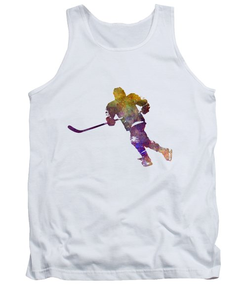 Skater With Stick In Watercolor Tank Top