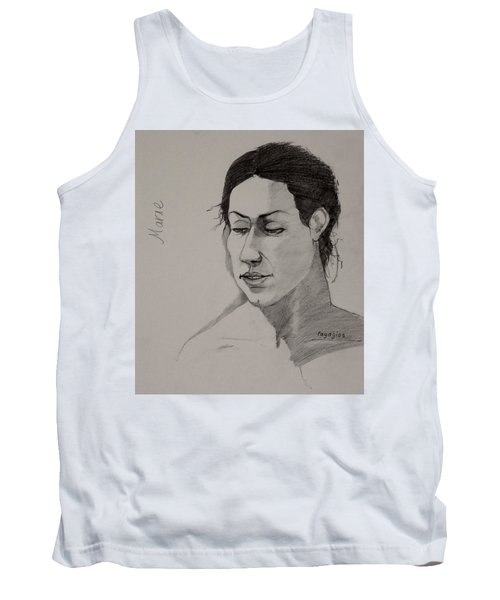 Tank Top featuring the drawing Sketch For Marie 2 by Ray Agius