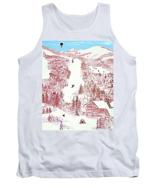 Tank Top featuring the painting Skiing Deer Valley Utah by Richard W Linford