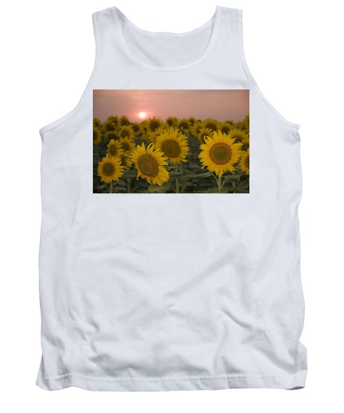 Skn 2178 The Sunflowers At Sunset  Tank Top by Sunil Kapadia
