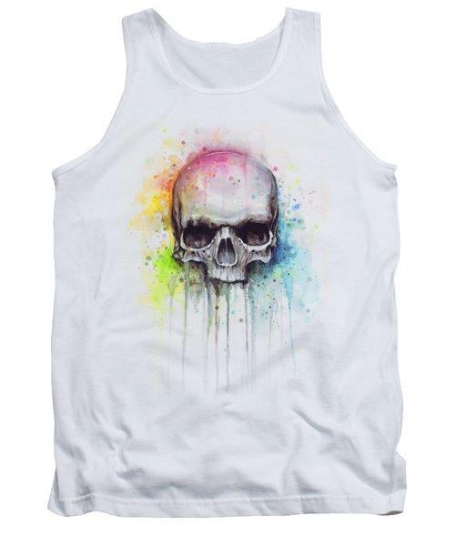 Skull Watercolor Painting Tank Top by Olga Shvartsur