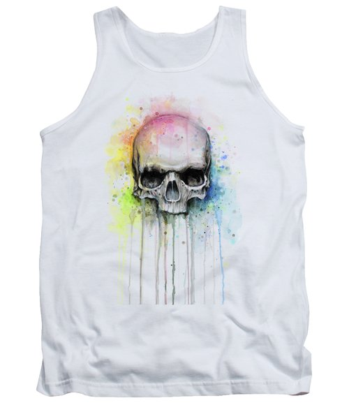 Skull Watercolor Rainbow Tank Top