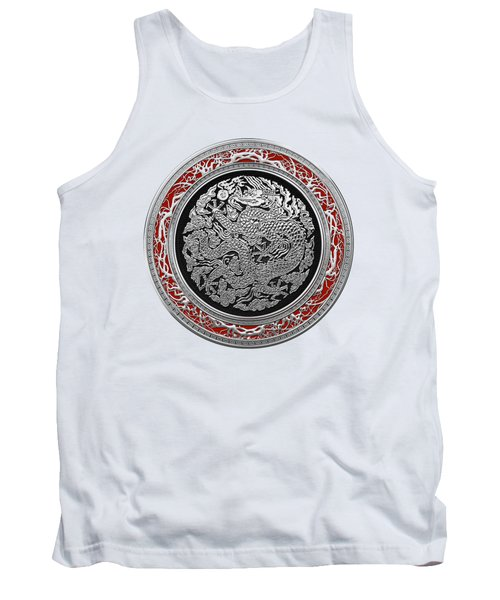 Sliver Chinese Dragon On White Leather Tank Top