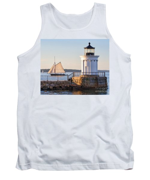 Sloop And Lighthouse, South Portland, Maine  -56170 Tank Top by John Bald
