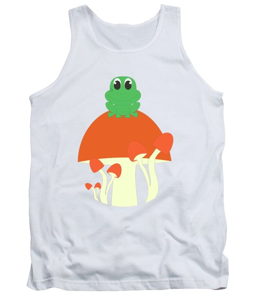 Small Frog Sitting On A Mushroom  Tank Top by Kourai