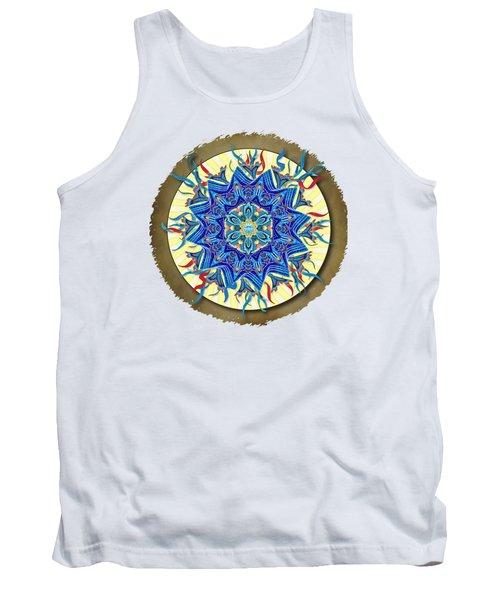 Smiling Blue Moon Mandala Tank Top by Deborah Smith