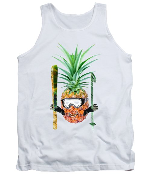 Smiling Pineapple-downhill Skier Tank Top by Elena Nikolaeva