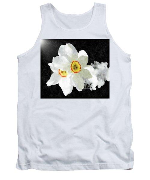 Smokey White Floral Tank Top