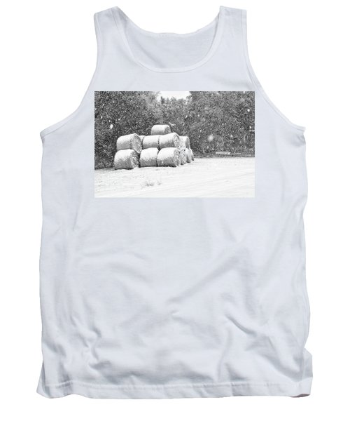 Snow Covered Hay Bales Tank Top