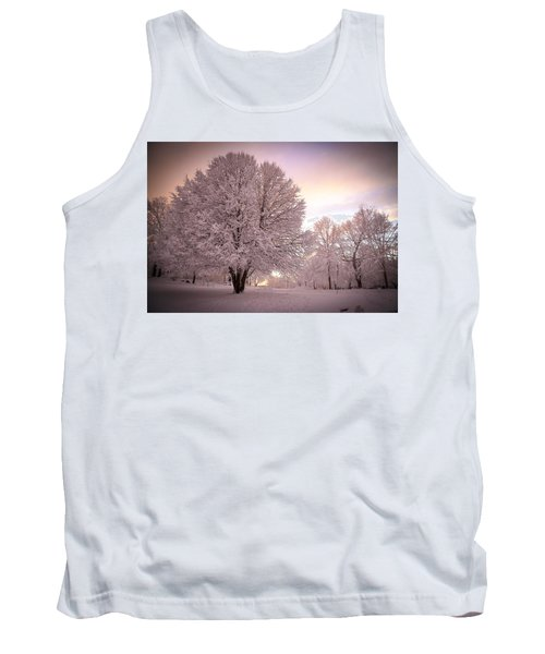Snow Tree At Dusk Tank Top