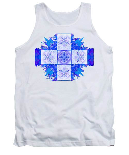 Tank Top featuring the digital art Snowflake Cross by Adria Trail