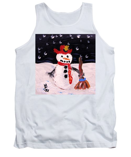 Snowman Under The Stars Tank Top by Mary Carol Williams