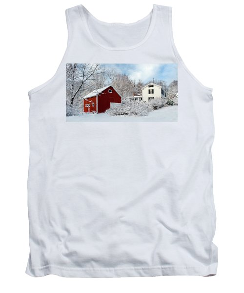 Snowy Homestead With Red Barn Tank Top