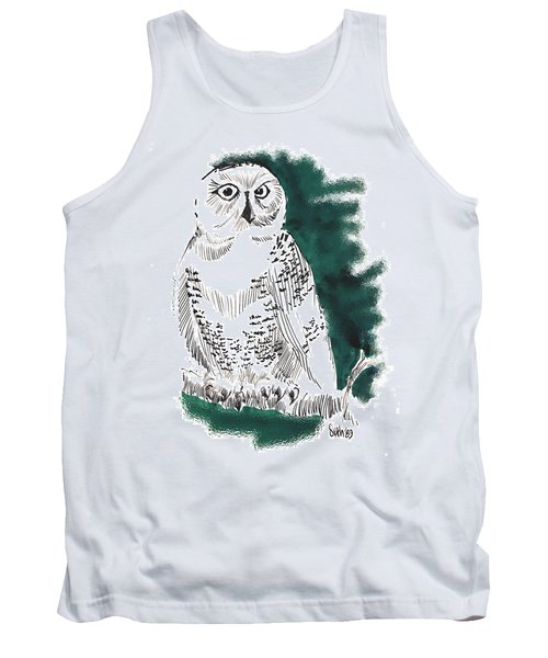 Tank Top featuring the drawing Snowy Owl II by Seth Weaver